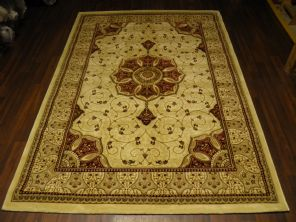 Woven Backed Ivory/Red Traditional Carved Rug 160cm x 230cm Approx 8x5 Top Quality